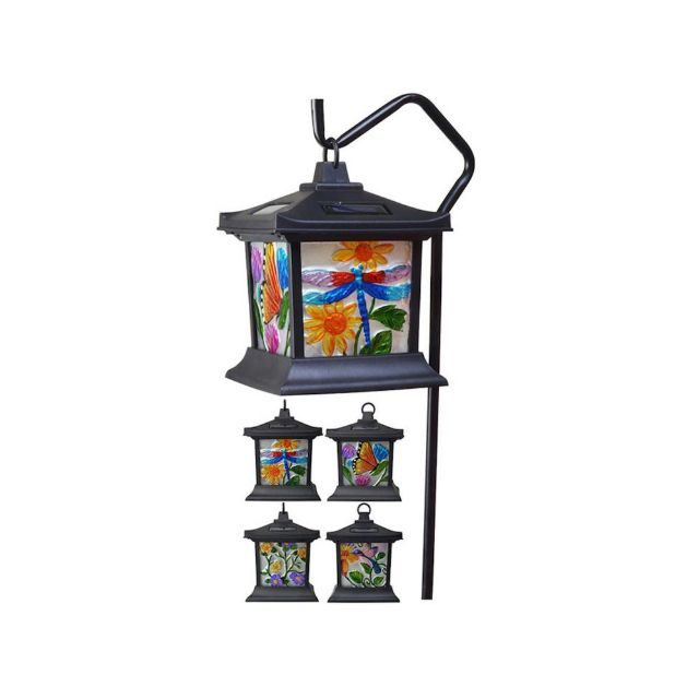 Solar Powered Hanging Floral Stained Glass Light