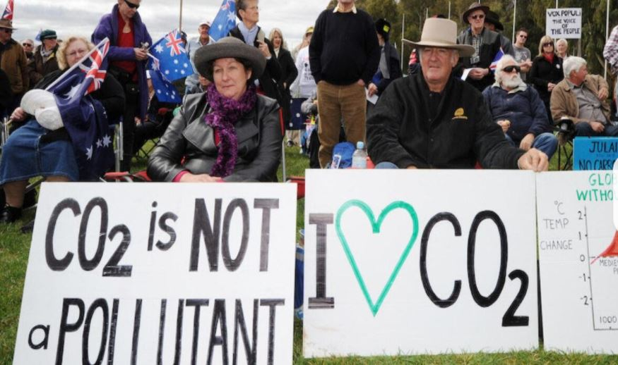 A protest on the current climate change Denial