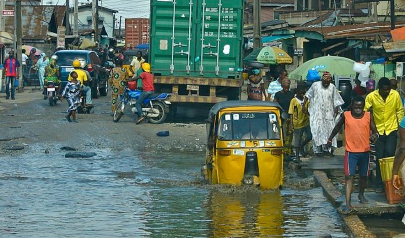Flooded road of Lagos